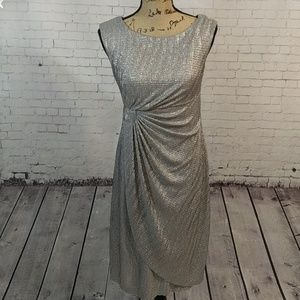 Connected Apparel Silver Shimmer Holiday Dress